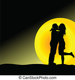 couple kiss in front of the sun