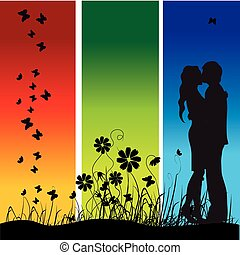 Couple kisses on a meadow, black silhouette