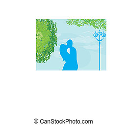 Couple kissing at sunset on the park, background vector illustration