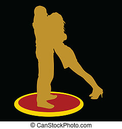 couple kissing gold silhouette
