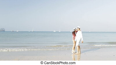 Couple Kissing On Beach Man And Woman Embracing Young Happy Tourists In Love On Sea Vacation