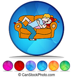 Couple Kissing on the Sofa Shiny Button Set