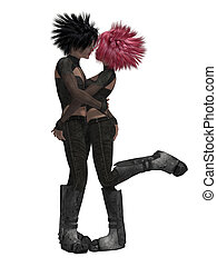 Couple Kissing - Sci fi couple kssing on a white background
