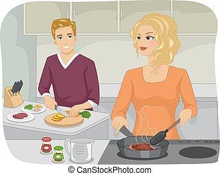 Couple Kitchen Cook