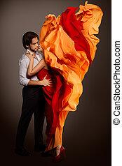 couple, lèvres, fleur, tissu, baisers, amour, femme, caché, flamme, battement des gouvernes, homme