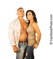 couple, latino, séduisant