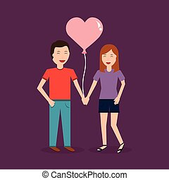couple laughing happy holding balloon shape heart romantic