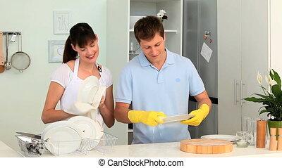 couple, lavage, jeune, haut