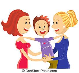 couple, lesbienne, jeune, fils, famille