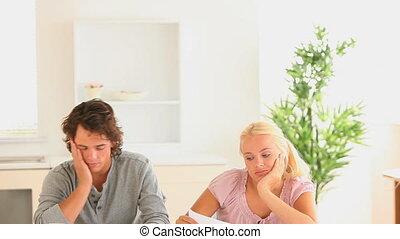 couple, leur, comptabilité, confection