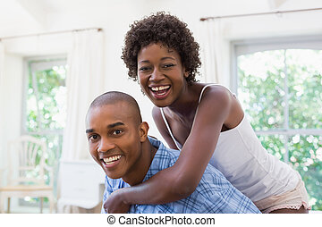 couple, leur, lit, heureux, caresser