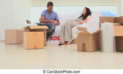 couple, leur, maison mobile, nouveau