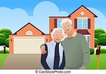 couple, leur, personne agee, vecteur, devant, maison, illustration, retiré