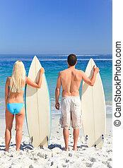 couple, leur, planches surf
