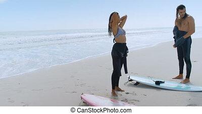couple, leur, wetsuits, surfeur, enlever, 4k