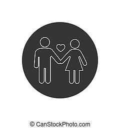 Couple line icon. Vector illustration modern flat style