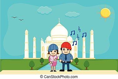 Couple Listening Music at Taj Mahal