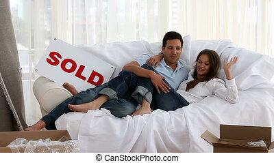 couple, lit, délassant, heureux