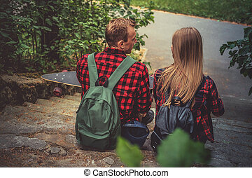 couple, longboard, relaxing., aimer