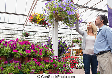 Couple looking at hanging flower basket