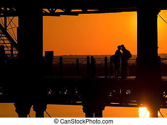 couple looking the sunset