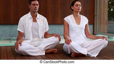 couple, lot, calme, blanc, séance