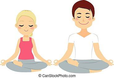 Couple Lotus Pose - Young woman and man couple doing lotus...
