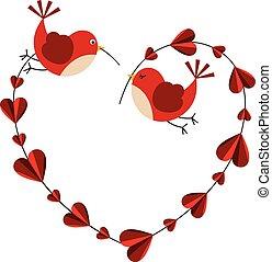 Couple love birds forming a heart