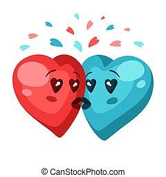 couple, love., cœurs, jour, mignon, salutation, valentin, card.