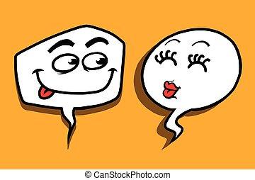 couple love cartoon bubble face man woman