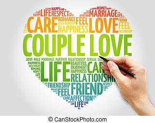 Couple love concept heart word cloud