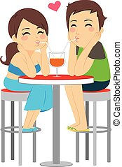 Couple Love Drinking Same Glass
