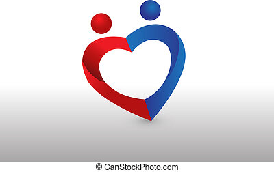 Couple love heart shape image logo