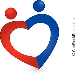 Couple love heart symbol logo vector icon