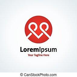 Couple love hugging hearth shape vector logo icon