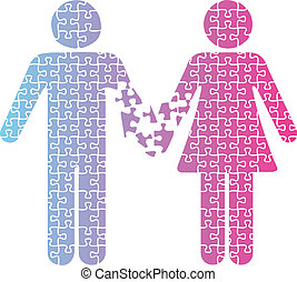 Couple love separation people puzzle