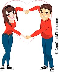 Couple Love Shape Arms