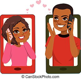 Smartphone concept illustration of young African American couple in love talking