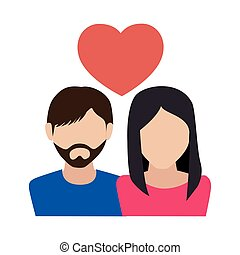 couple love with heart