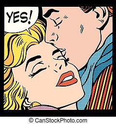 Couple love Yes pop art retro style. A man kisses a woman....