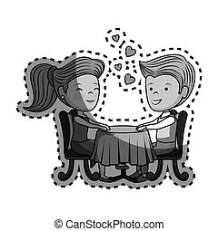 couple lovers characters icon