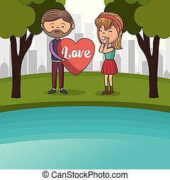 couple lovers in the lake