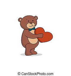 Couple lovers of teddy bears with heart in hands. Bear gives a red heart female bears. Bear sheepishly from the proposal. Vector illustration
