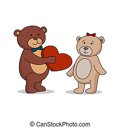 Couple lovers of teddy bears with heart in hands. Bear gives a red heart female bears. Bear sheepishly from the proposal.