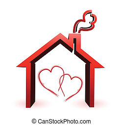 couple loving house illustration design
