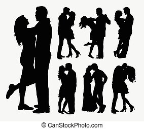 Couple loving silhouettes - Couple loving people...