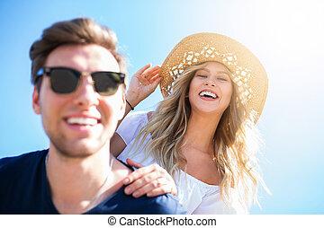 couple, lumière soleil, heureux
