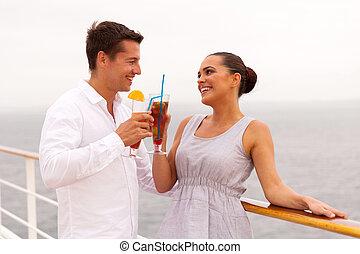 couple, lune miel, bateau, nouveau marié, croisière