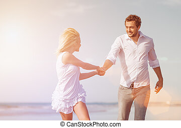 couple, lune miel, vacances plage
