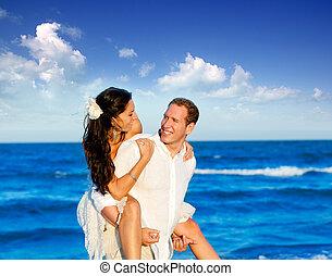 couple, lune miel, vacances plage, voyage